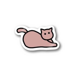 伏せねこ_ピンク Stickers