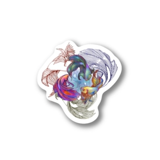 3 colors fish Stickers