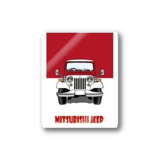 三菱ジープⒶ/赤 Stickers