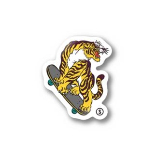 Tiger Skate Sticker Stickers