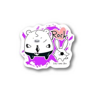 鷺ハムRockステッカー Stickers