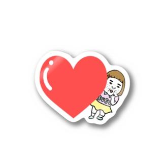 憎めないブスハートステッカー Stickers