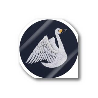 彩りの手刺繍人の湖鳥 Stickers
