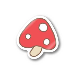 ククまるご愛用キノコ(レッド) Stickers