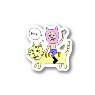 猫おっさん Stickers