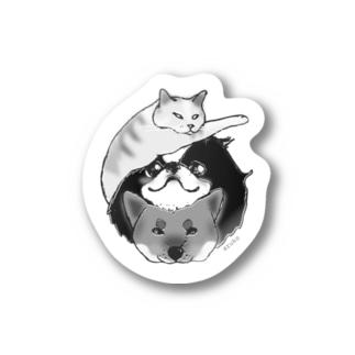 にゃん狆柴っ!mono Stickers
