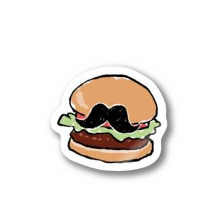 ヒゲのある日常-ハンバーガー- ステッカー
