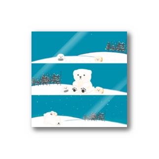 雪の日おにぎりわんこパンいぬ Stickers