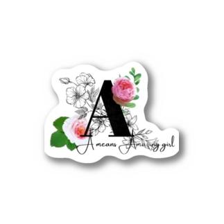 人類魅力研究所のイニシャルAの女の子ステッカー Stickers