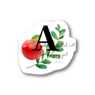 イニシャルAの女の子ステッカー Stickers