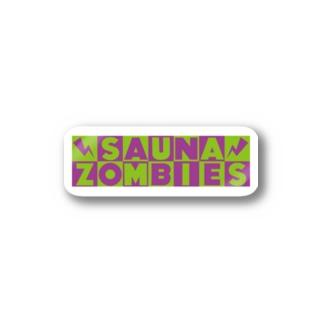 SAUNAZOMBIES -CARTOON LOGO STICKER PURPLE&GREEN - Stickers