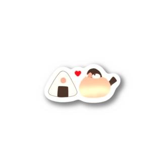お文鳥&おにぎり(シナモンver.) Stickers