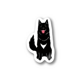 くろいぬ全身 Stickers