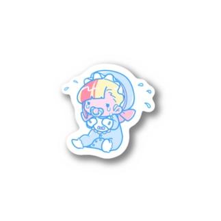 ブラーブラー トーキョー Suzuri店のソーホーステッカー(あかちゃん) Sticker