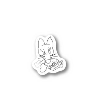 頬張ったたこ焼きが熱くてハフハフしてる狐 Stickers