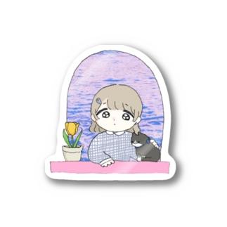 本調子の102号室(春) 女の子とねことチューリップ Stickers