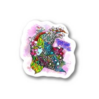 桜と少女 Stickers