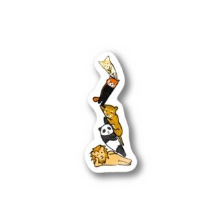 無気力な猫っぽい動物タワー Stickers