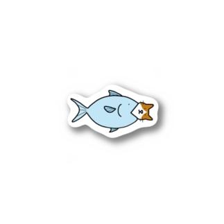 お魚くわえたハチワレ猫 Stickers
