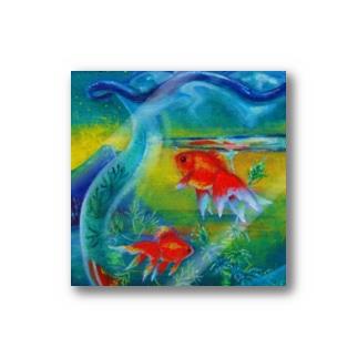 ステッカー_窓辺の金魚鉢 Stickers