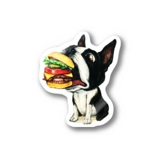 ボストンテリア×ハンバーガー Stickers