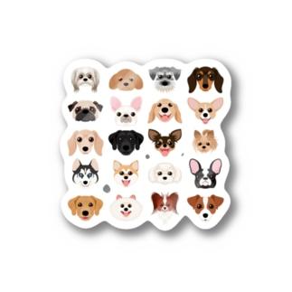 いろいろな犬種のかわいい顔 Stickers