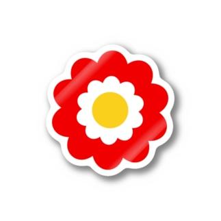 レトロフラワー*赤 Stickers