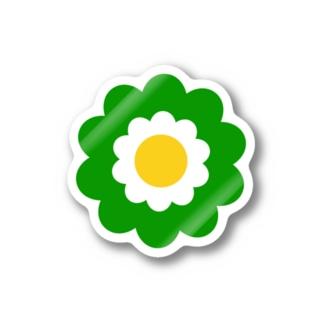 レトロフラワー*緑 Stickers