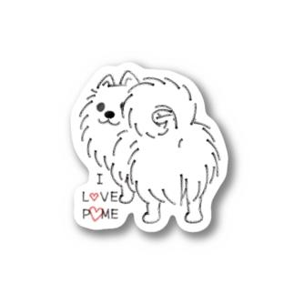 CT83いつも見ているポメラニアンE_*I LOVE POME Sticker