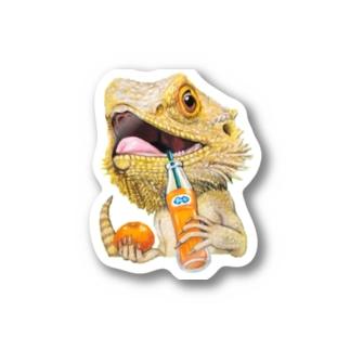 フトアゴヒゲトカゲ×オレンジジュース Stickers