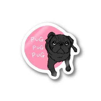 PUGPUGPUG 黒パグ✖️ピンク ステッカー