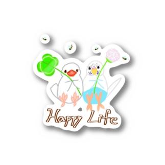 幸せ小鳥&シロツメクサ Sticker