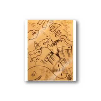 Flying Jet魚君&天麩羅御膳は、25.6度で、揚げる🌟🍤🌟 Stickers