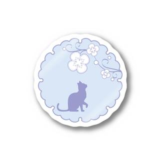 シルエット和猫ちゃん 見上げる猫青 Sticker