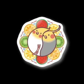 オカメインコのほほらら工房 SUZURI支店の【オカメインコ】フルーツオカメズ ステッカー