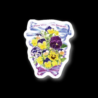 botanical_art_salonの花束を君に ボタニカルアート 花柄 ステッカー Stickers