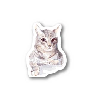 百合の筆のそんなにみつめないで!ドキドキしちゃうから♪かわいい猫のイラスト Stickers
