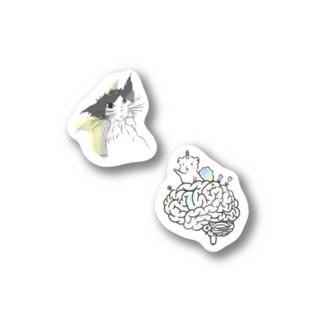 濡れ猫と脳味噌のステッカー Stickers