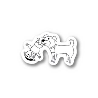 猛犬注意~豚人(ぶたびと)ver~(ステッカー版) Sticker