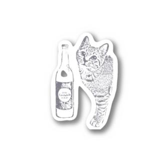 キジトラ猫とどぶろく(グレー) Sticker