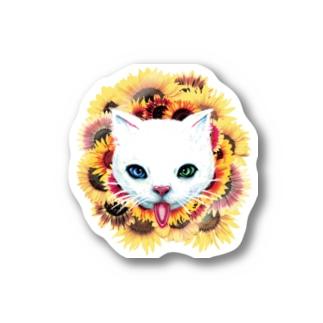 白猫と向日葵 Stickers