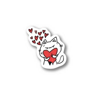 赤ハートにゃんひー Stickers