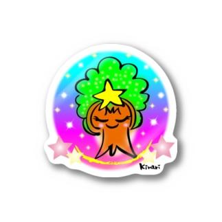 モックン虹色 マルサイズ Stickers