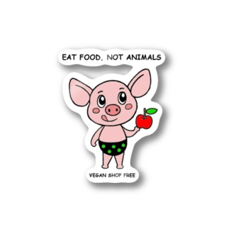 EAT FOOD NOT ANIMALS ステッカー Stickers