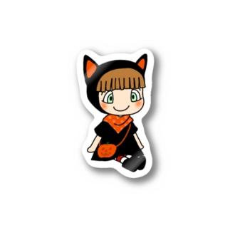 赤ずきんの「黒猫」ステッカー Stickers