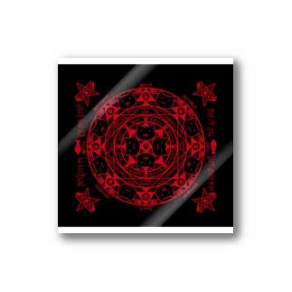 猫召喚魔方陣護符(赤) ステッカー