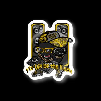 オリジナルデザインTシャツ SMOKIN'の黒豆DJ Stickers