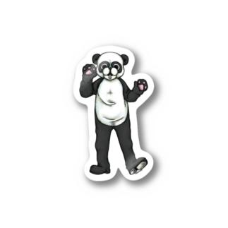 土日祝日のパンダ-らくがきシリーズ ステッカー