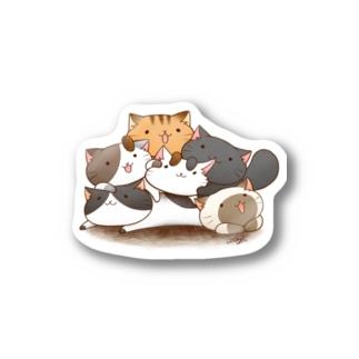 ねこ達のおしくらまんじゅう Stickers