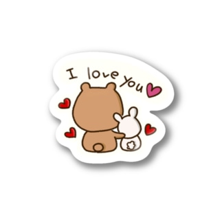 くまちー&うさちー【I love you】 Stickers